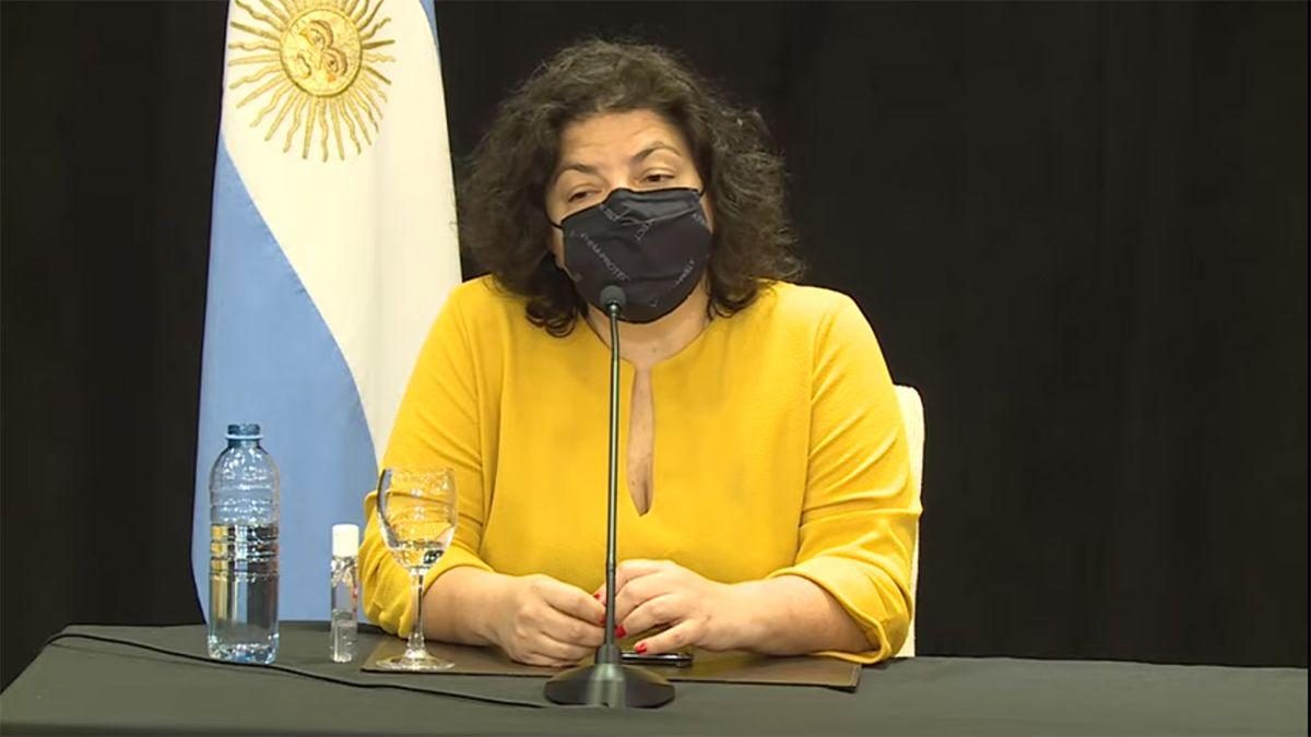 La ministra Carla Vizzotti encabeza una conferencia de prensa en San Luis